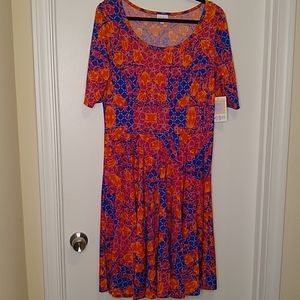 Lularoe red, orange, blue and white Nicole dress